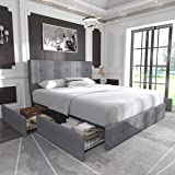 Allewie Queen Platform Bed Frame with 4 Drawers Storage and Headboard, Square Stitched Button Tufted Upholstered Mattress Fou
