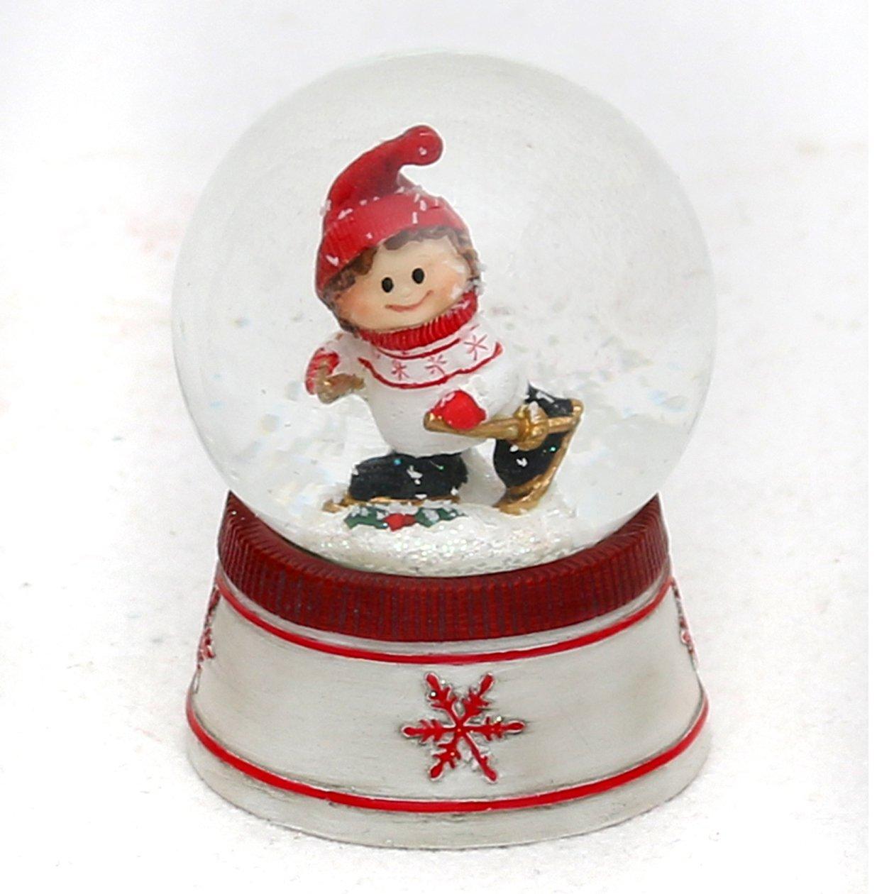 Bella e originale palla di vetro con neve. Disegno: Bambina con pattini da ghiaccio, circa 6,5 x 5 cm/ Ø 4,5 cm Dekohelden24