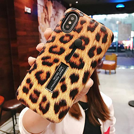finest selection 09fc8 fb8d3 iPhone Xs Max Case with Finger Grip,YTamazing 3D Embossed Leopard Design  Rugged Shockproof Slim Fit Dual Layer Finger Ring Loop Strap Case with  Finger ...