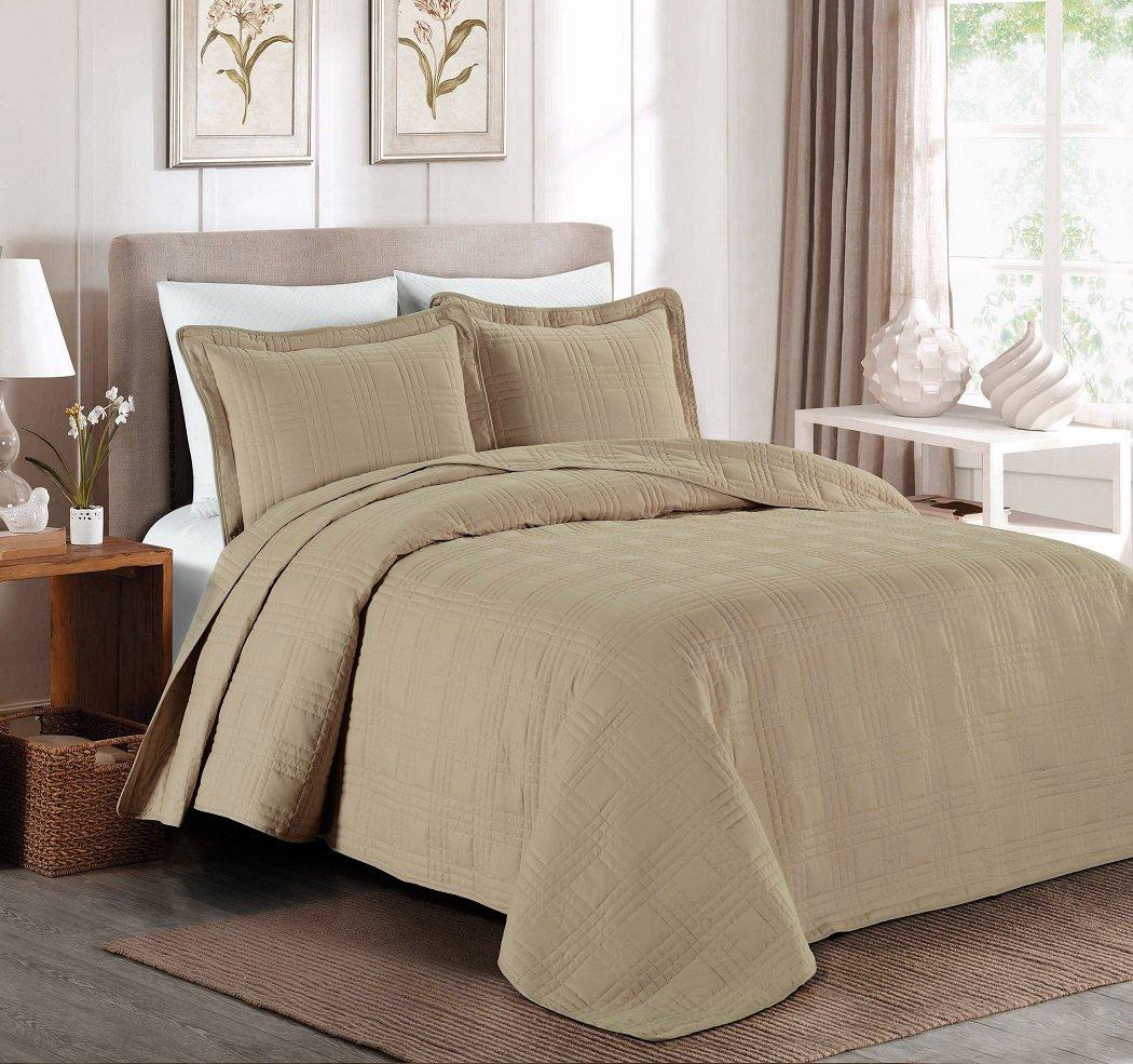 Chezmoi Collection Kingston 3-piece Oversized Bedspread Coverlet Set (King, Khaki)