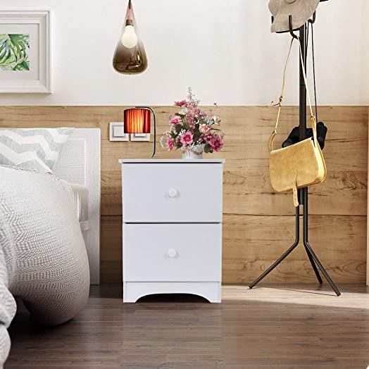 White Finish Nightstand Side End Table with One Drawer