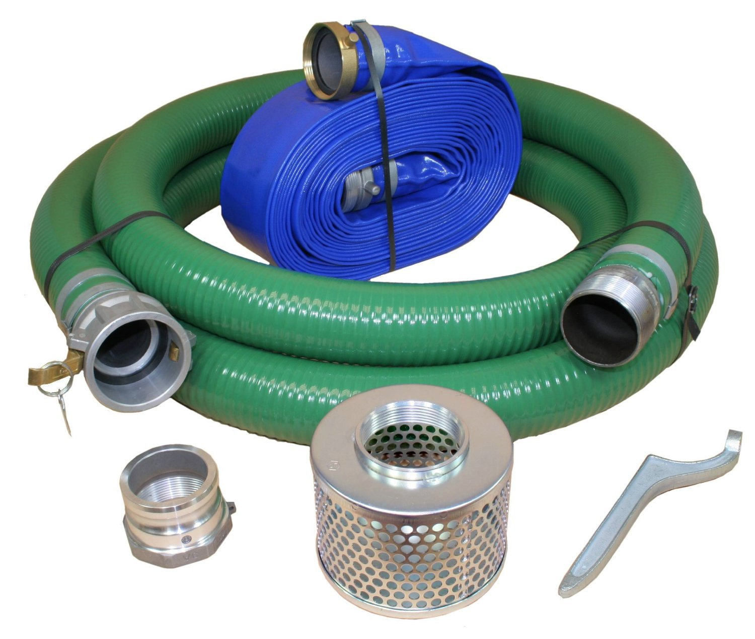 JGB Enterprises Eagle Hose PVC/Aluminum Water/Trash Pump Hose Kit, 3'' Green Suction Hose Coupled C x KCN, 3'' Blue Discharge Hose Coupled M x F WS, 29 Vacuum Rating, 70 PSI Maximum Temperature, 50' Length, 3 ID