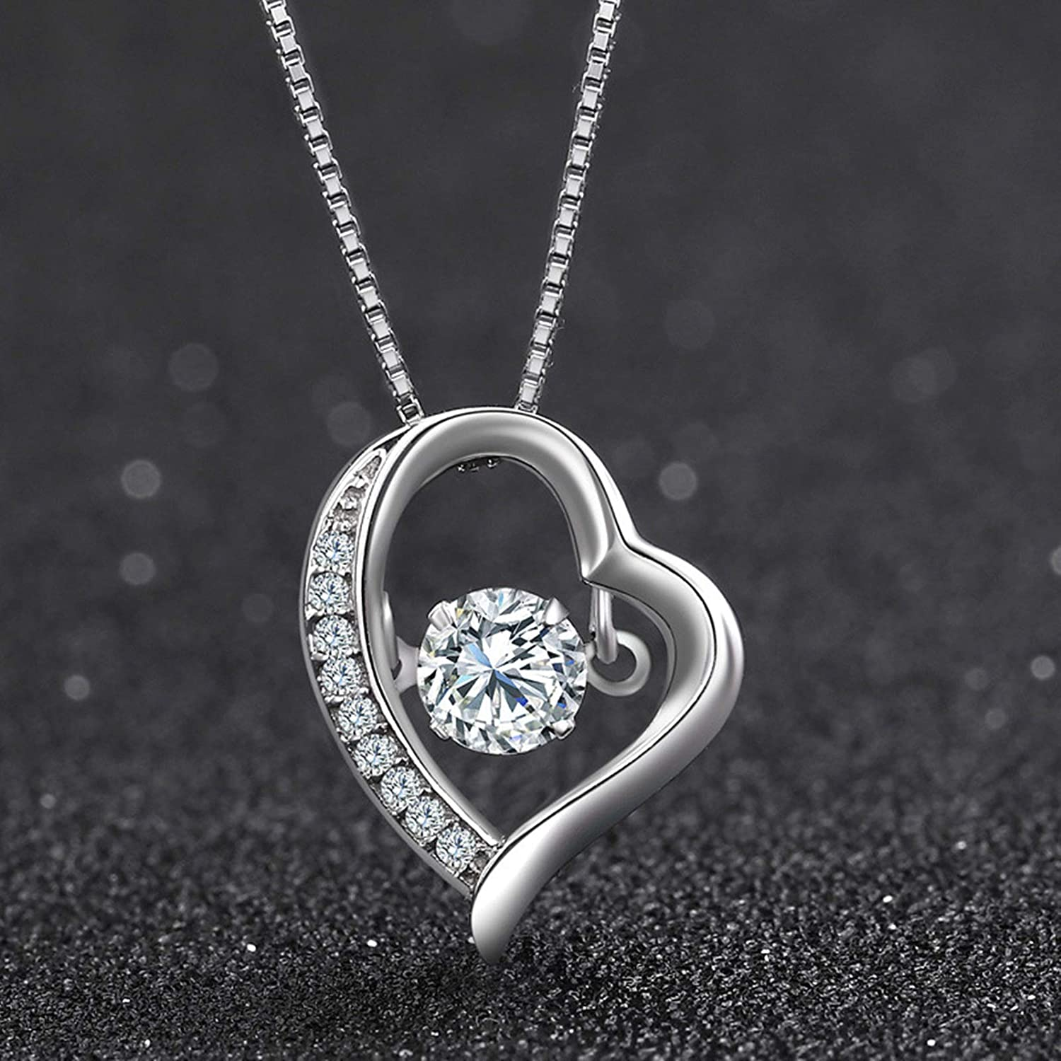 Daesar Silver Necklace for Women 925 Necklace with Pendant Round Heart Necklaces Personalized Cubic Zirconia Necklace Vintage Silver