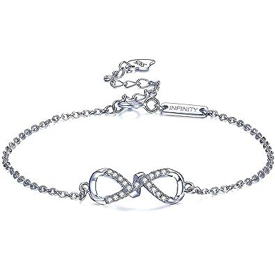 J.RIKKI Armbänder Damen Armband 925 Sterlingsilber 5A Funkeln Zirkonia  Unendlichkeit Armband Mode Infinity Armbänder für Damen  Amazon.de  Schmuck 618efadc3f