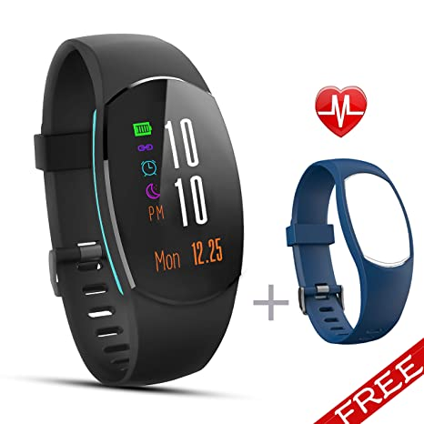 Fitness Tracker, Waterproof Fitness Watch Heart Rate Monitor, Sleep Monitor Calorie, Sport GPS Pedometer Smart Bluetooth Activity Wristband for ...