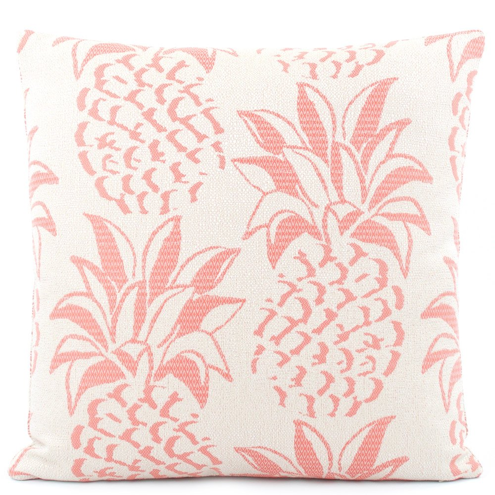 Chloe & Olive Pineapple Grove Coral Pink Outdoor Collection Decorative Reversible Fashion Pillow (1 Pillow with Insert), 18 x 18 Inch Square, Coral Pink