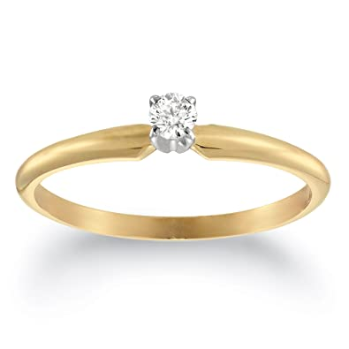 29fa8b50098c5 10k Yellow Gold Round Diamond Solitaire Engagement Ring (1 10 carat ...