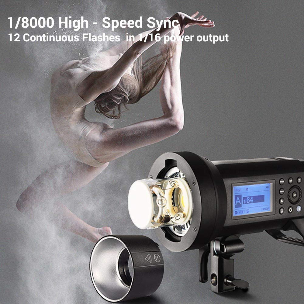 Godox AD400 Pro AD400Pro 400ws GN72 TTL Battery-Powered Monolight, 1/8000 HSS Outdoor Flash Strobe Light, Built-in Godox 2.4G System, 390 Full Power Pops, 0.01-1s Recycle Time, 30w LED Modeling Lamp by Godox (Image #4)