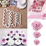 JZK® Kit di 3 stampi tagliapasta rose per creare roselline fiori di pasta di zucchero torta cupcake compleanno matrimonio strumento decorazioni stampo formine
