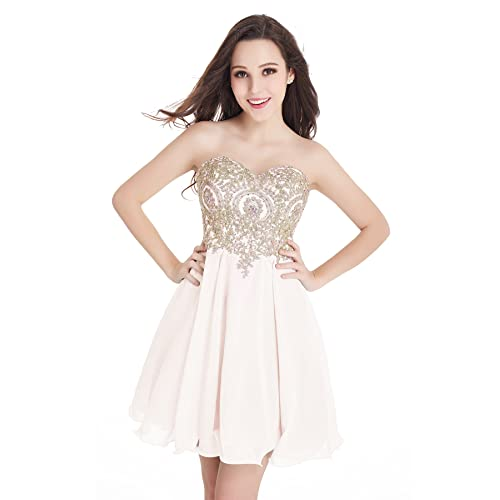 Babyonline Juniors Gold Lace Applique Short Quinceanera Homecoming Dresses