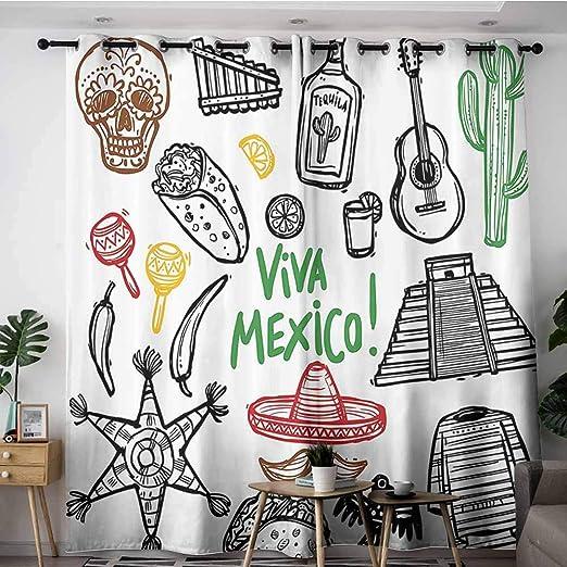VIVIDX Cortinas para puerta corredera, decoración mexicana, boceto ...
