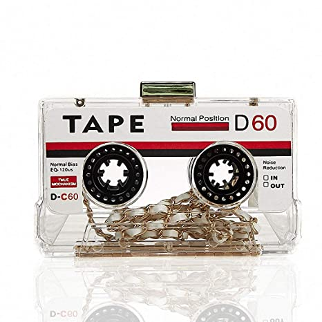DUmulan Bolso de Embrague de Las Mujeres Bolso de Cinta de Cassette Retro Personalizado Noche de