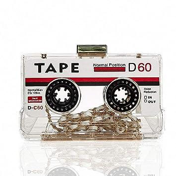DUmulan Bolso de Embrague de Las Mujeres Bolso de Cinta de Cassette Retro Personalizado Noche de Moda Usar Cinta de Casete Bolsa de Cena para Damas,Blanco: ...