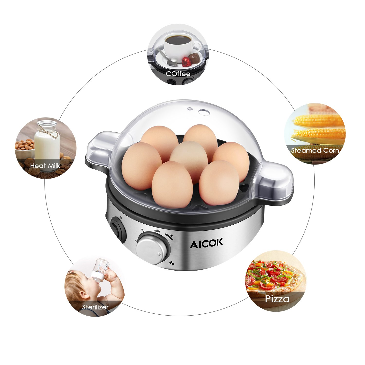 Aicok Egg Cooker, Egg Boiler, Electric Egg Maker with 7 Egg Capacity, Egg Steamer Stainless Steel