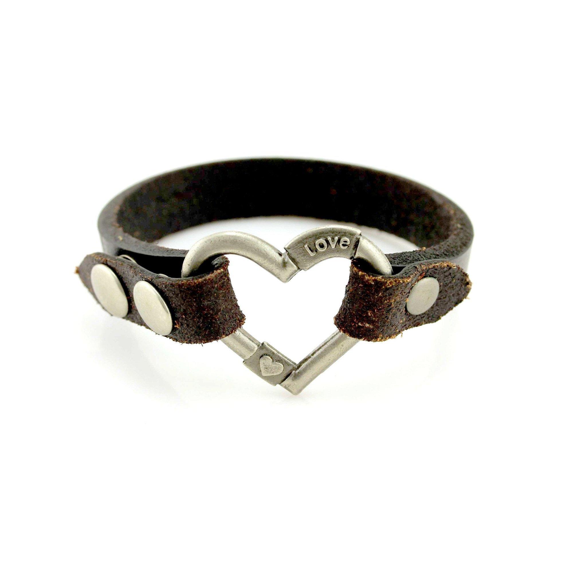 Balla Mother Daughter Bracelet, Heart Bracelet, Leather Bracelet with Silver Love You Bracelet by