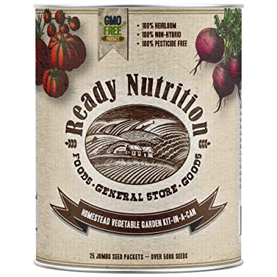 Ready Nutrition Homestead Vegetable Garden Kit-in-A-Can (25 Seed Varieties - Over 5, 000 Seeds) : Garden & Outdoor