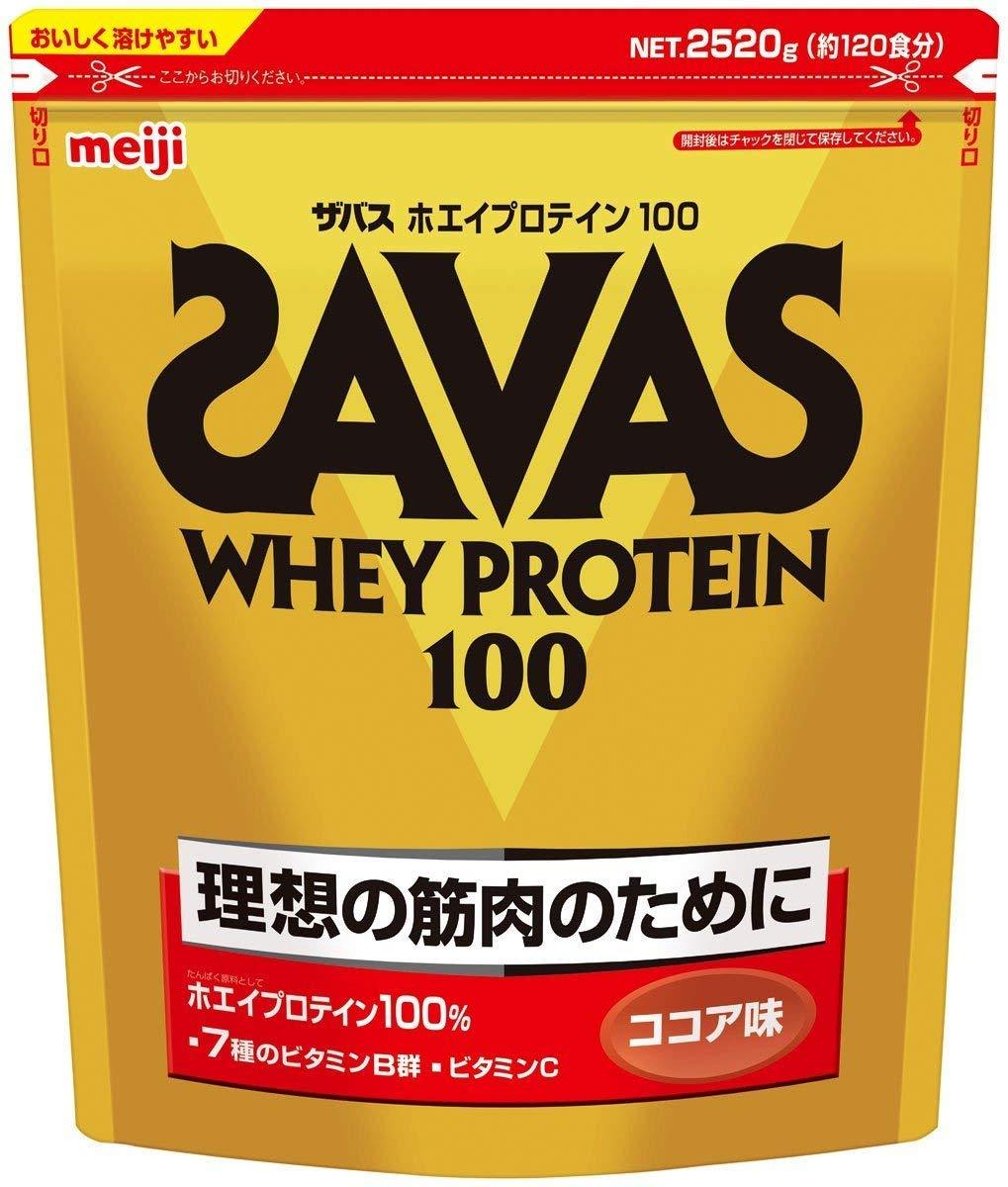 ザバス ホエイプロテイン100 ココア味【120食分】 2,520g ×2個セット   B07PMB55ZH