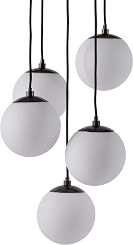 Amazon Brand Rivet Eclipse Mid Century Modern 5-Globe Hanging Ceiling Pendant Chandelier Fixture – 20 x 20 x 48 Inches, Black Metal With Frosted Glass Globes