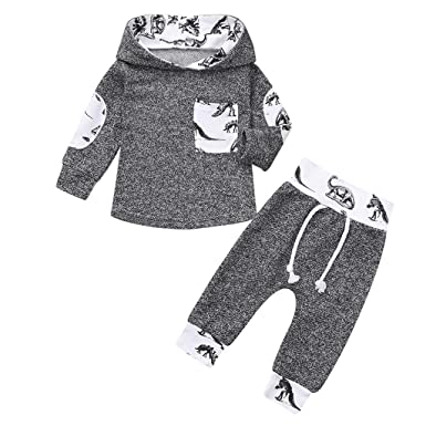Mitlfuny Primavera Otoño Bebé Camisetas de Manga Larga Sudaderas Capucha Dinosaurio Estampado Bolsillo Camisas Niñas Niños