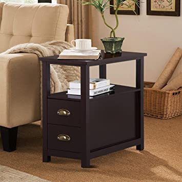 Go2buy Sofa Side Narrow End Table With 2 Drawer And Shelf Nightstand For  Small Spaces Living