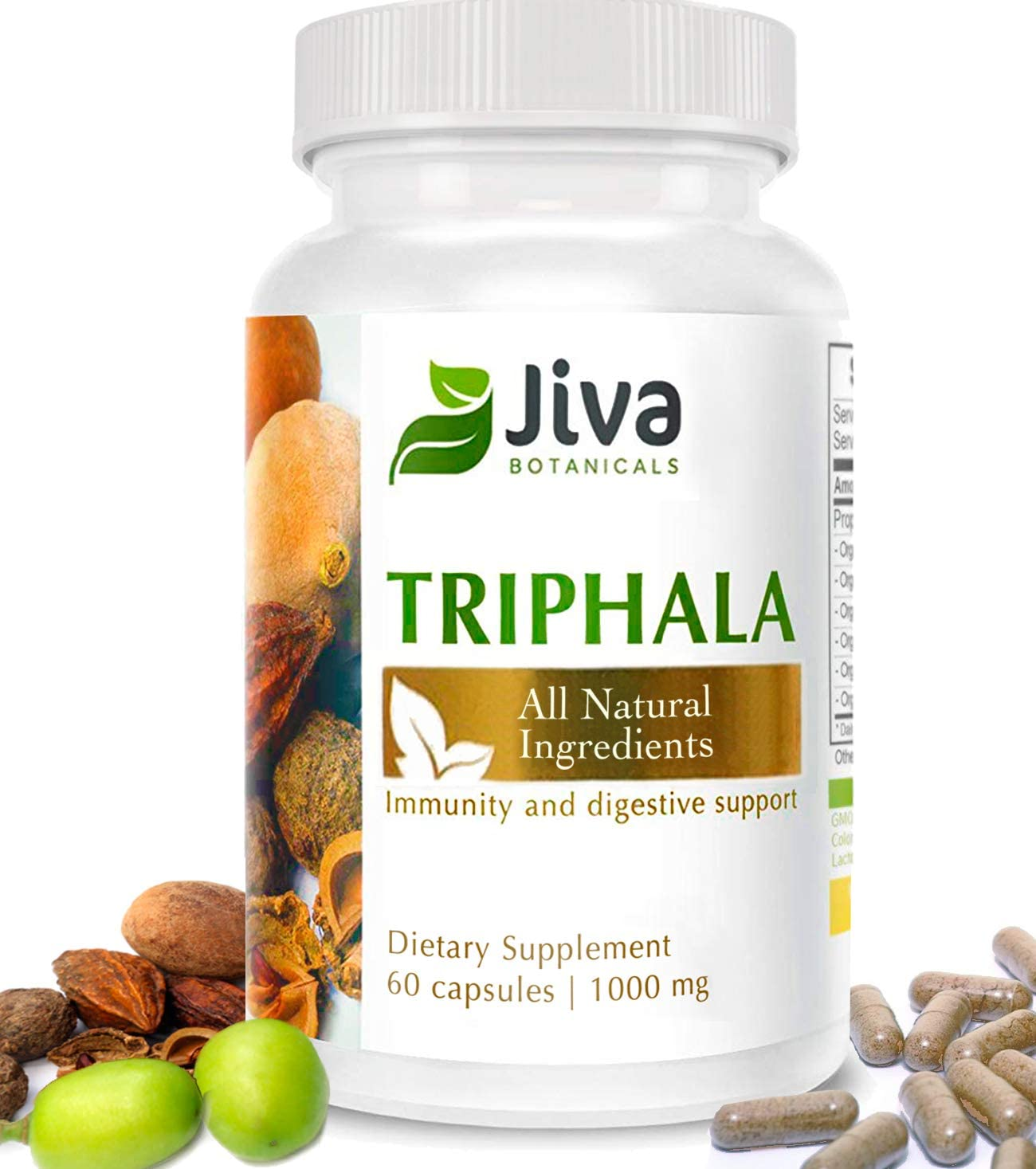 Triphala Capsules 1000mg Extra Strength for Detoxification, Immunity, Digestive Support Optimized Formula Amalaki Amla , Bibhitaki and Haritaki Triphala Powder Plus Extract – by Jiva Botanical