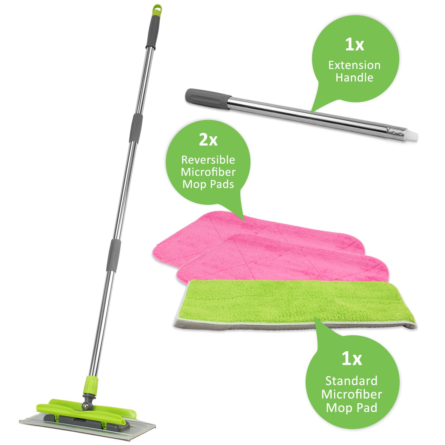 LINKYO Microfiber Hardwood Floor Mop - 3 Reusable Flat Mop Pads and Extension Included, for Wet or Dry Floor Cleaning by LINKYO (Image #9)