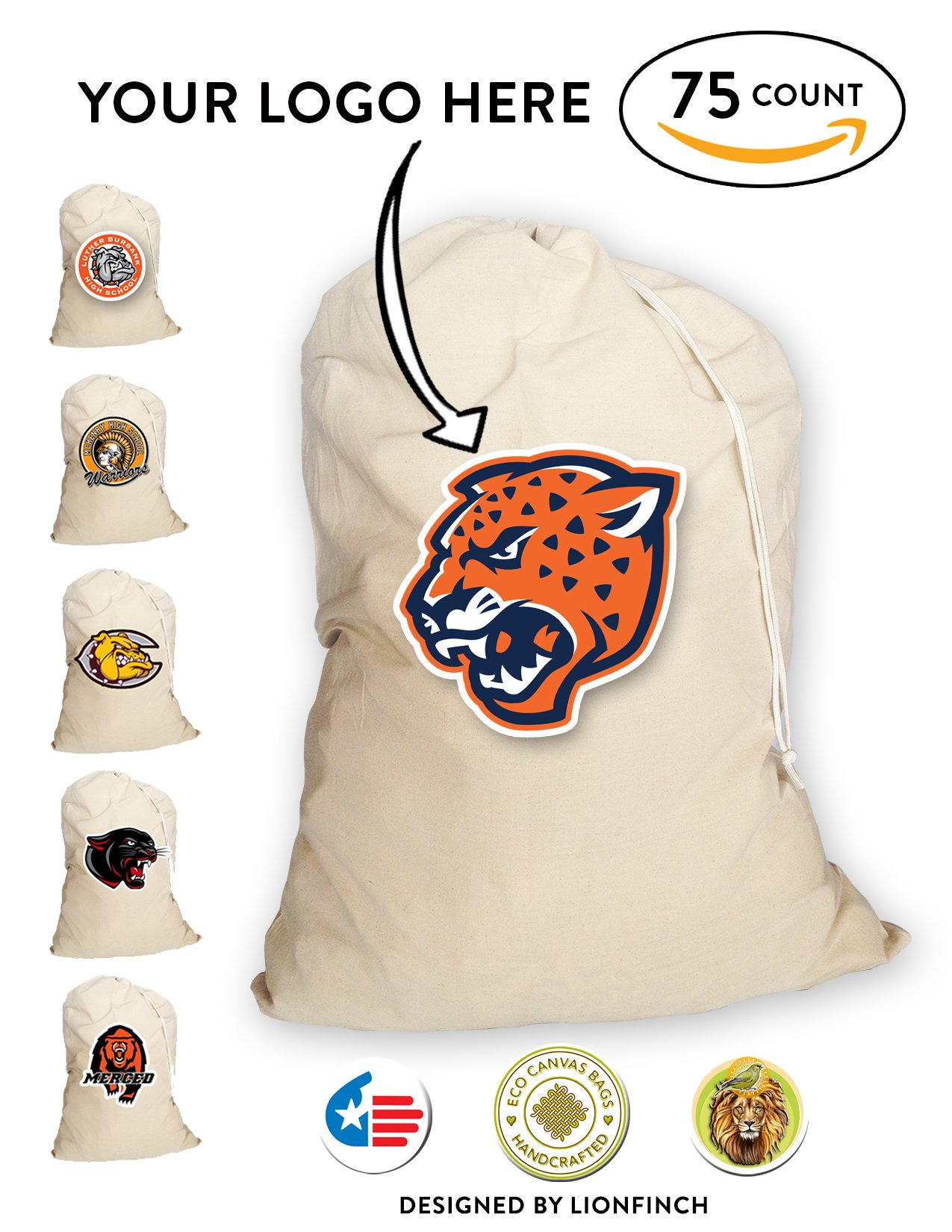 Custom Silk Screened Volleyball Equipment/Ball Bags With Your Cool Logo- 75 Count. Heavy Duty, Extra Large- 150 Pound Load Capacity Canvas Bags. Proudly Made in America.