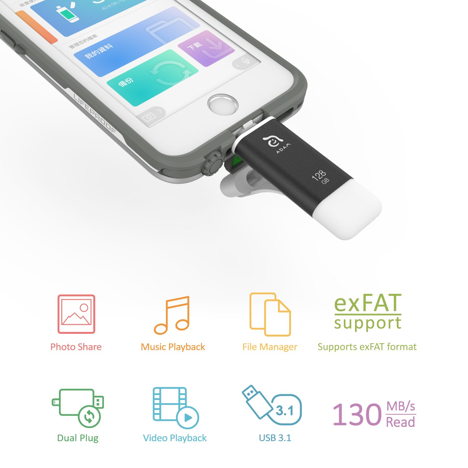 A Adam Elements Iphone Flash Drive For Ios And Ipad Element Iklips 128gb Red Lightning To Usb Thumb External Memory Storage Stick Extended Connector Fits With