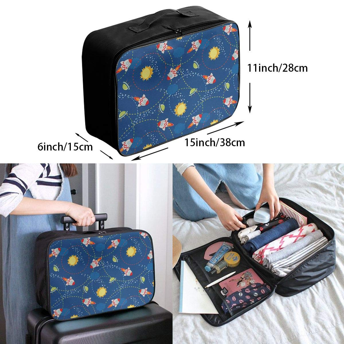 ADGAI Cute Little Cartoon Rocket Canvas Travel Weekender Bag,Fashion Custom Lightweight Large Capacity Portable Luggage Bag,Suitcase Trolley Bag