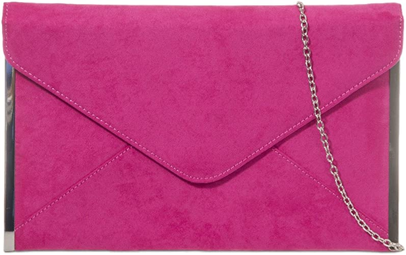 Cerise Pink Envelope Clutch Bag Slim Fuchsia Faux Suede Evening Bag with Silver Tone Trim, Ladies Hot Pink Shoulder Bag, Prom Wedding Handbag