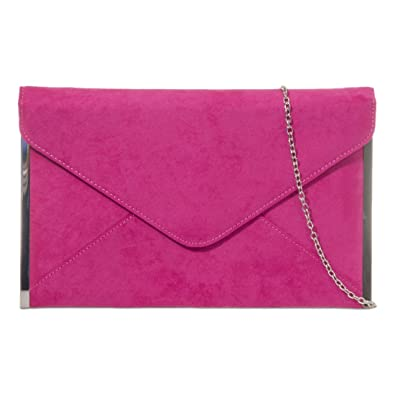 Cerise Pink Envelope Clutch Bag, Fuchsia Faux Suede Evening Bag ...