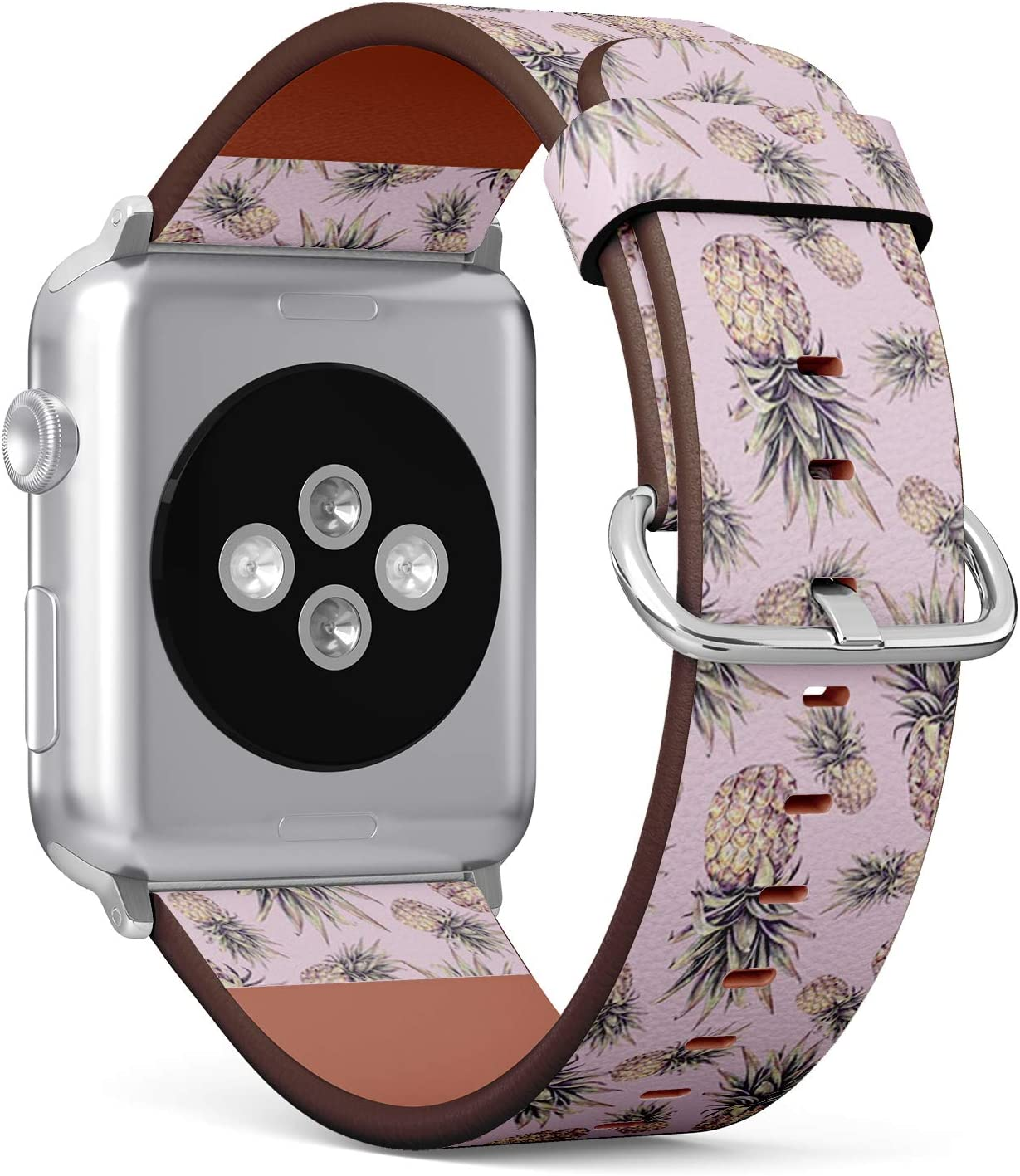 Compatible with Small Apple Watch 38mm & 40mm (Series 5, 4, 3, 2, 1) Leather Watch Wrist Band Strap Bracelet with Stainless Steel Clasp and Adapters (Pineapple On Pink Watercolor)