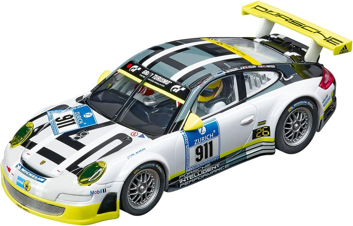 Amazon Com Carrera 27543 Evolution Analog Slot Car Racing Vehicle Porsche 911 Gt3 Rsr Manthey Racing Livery 1 32 Scale Toys Games