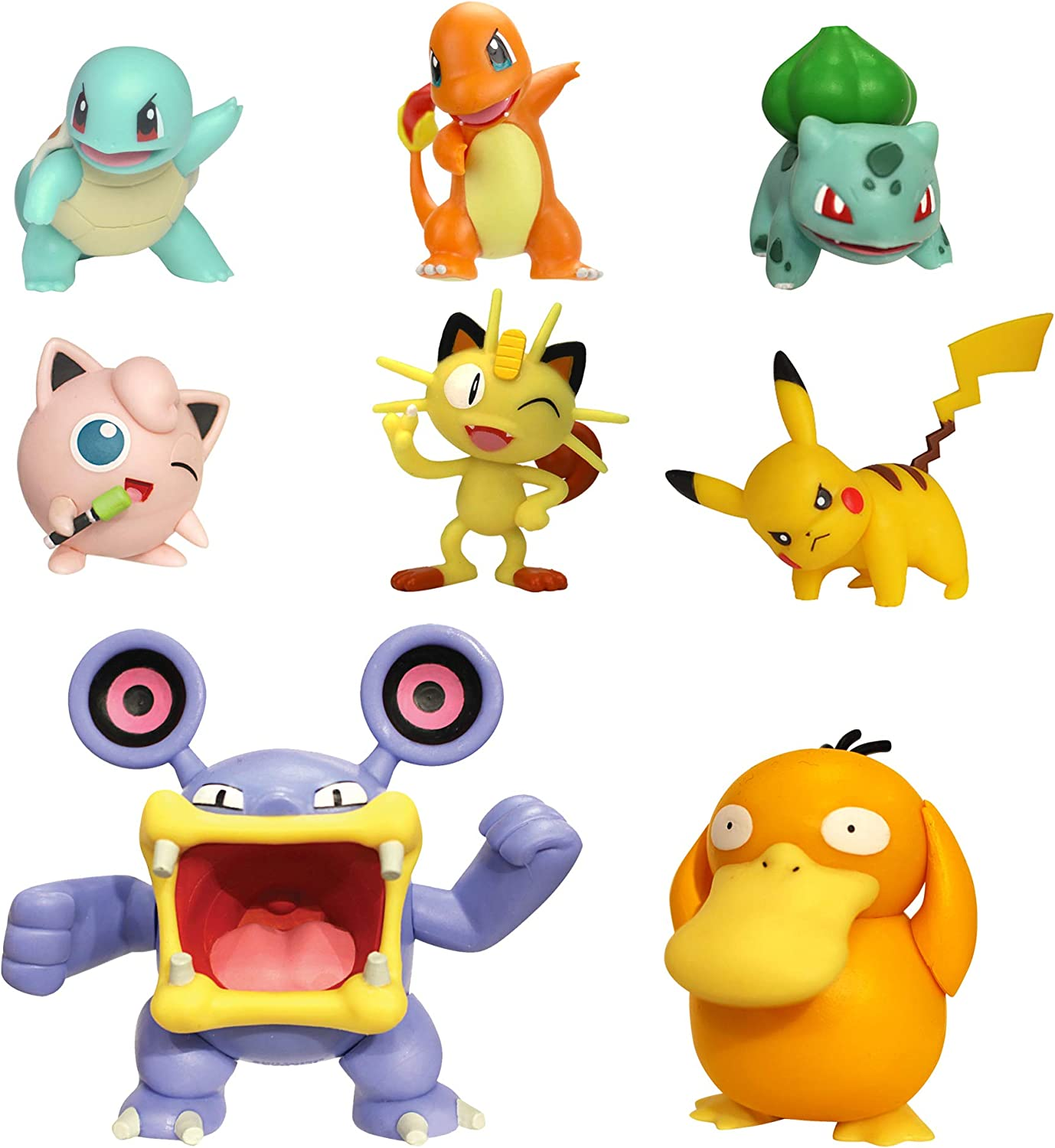 """PoKéMoN Battle Action Figure Multi 8 Pack - Comes with 2"""" Pikachu, 2"""" Bulbasaur, 2"""" Squirtle, 2"""" Charmander, 2"""" Meowth, 3"""" Loudred, and 3"""" Psyduck"""