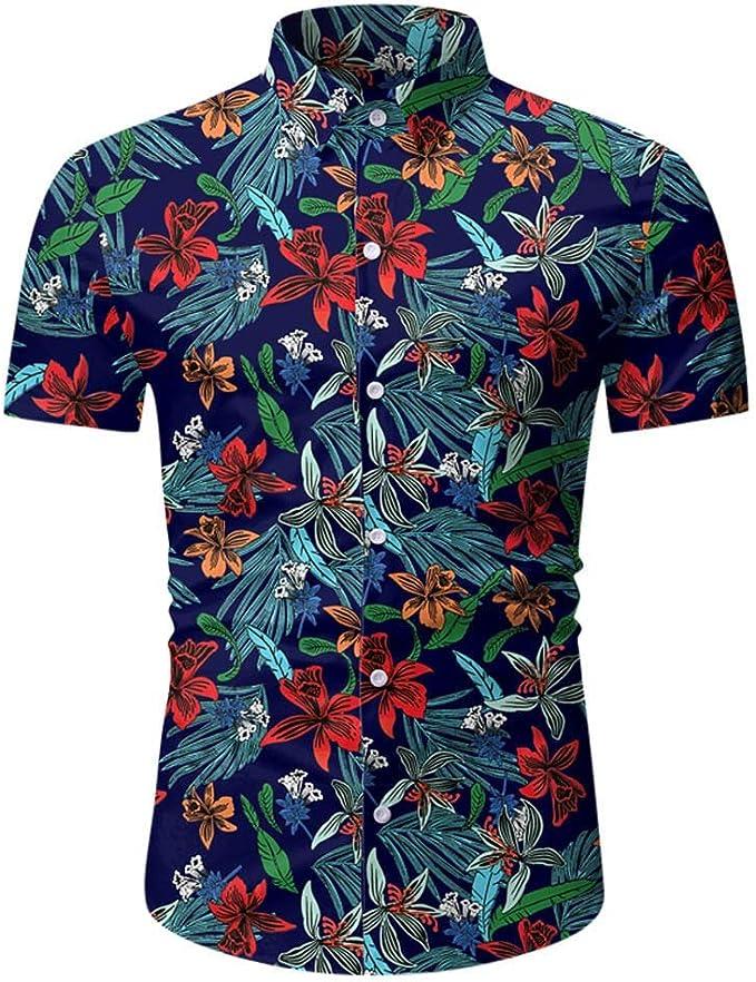 Domple Mens Casual Short Sleeve Print Lapel Neck Beach Hawaii Button Down Shirt