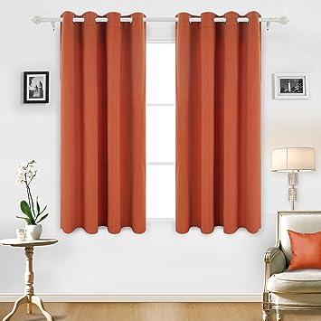 Deconovo Gardine Mit Ösen Streifen Vorhänge Schlafzimmer 180x140 Cm Orange  2er Set