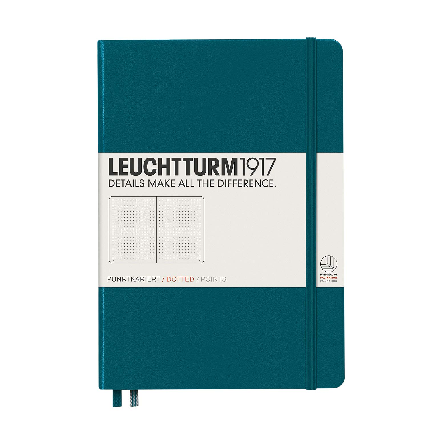 LEUCHTTURM1917 - Medium A5 Dotted Hardcover Notebook (Pacific Green) - 251 Numbered Pages