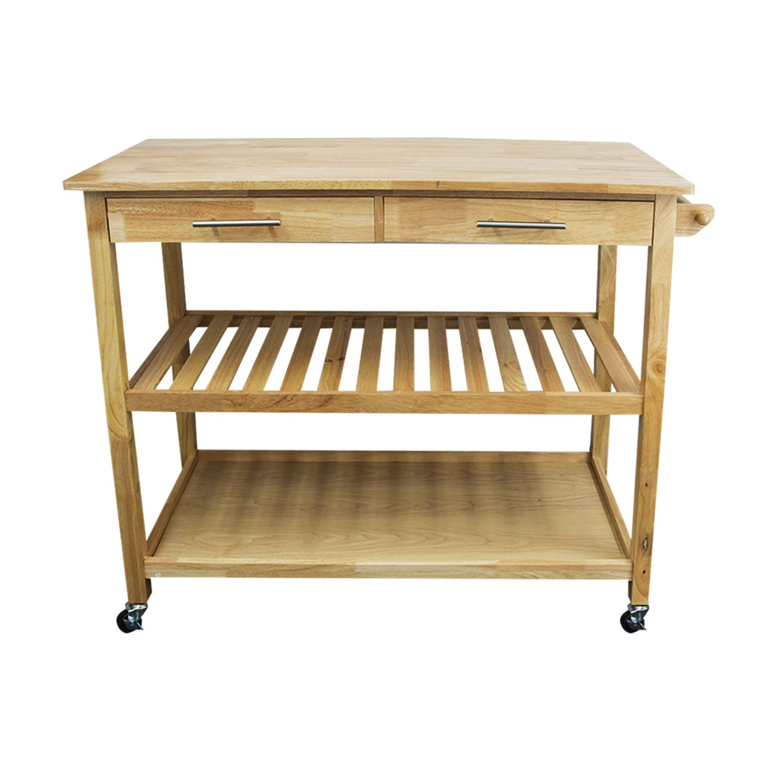 "Housables Kitchen Island Cart, Microwave Stand And Carts, Brown, Natural, 20 ½'' (L) x 44"" (W) x 36"" (H), Wood Top, Rolling, Home Storage Table, Utility Shelf, With 2 Drawers, Lockable Wheel"