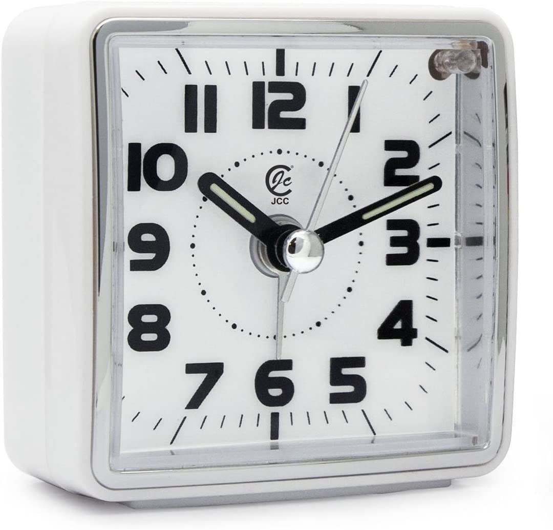 JCC Mini Travel Analog Alarm Clock, Non-Ticking-Battery Operated, Quartz Clock with 5 min Snooze- Loud Ascending Sound- Alarm Clocks with Night Light for Traveling, Backpacking White – Square Dial