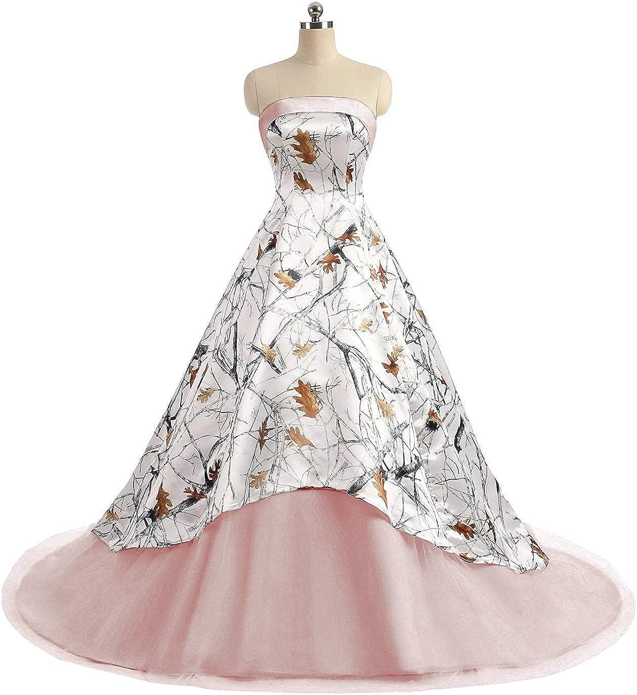 bluesh Jingliz Camo Wedding Dresses Strapless Tulle Ball Gown Long Prom Quineceaneara Dress