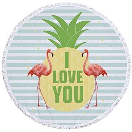 6e398ad964afc Image Unavailable. Image not available for. Color: SOFTBATFY Love Flamingo  Thick Terry Round Beach Towel/Beach Blanket/Round ...