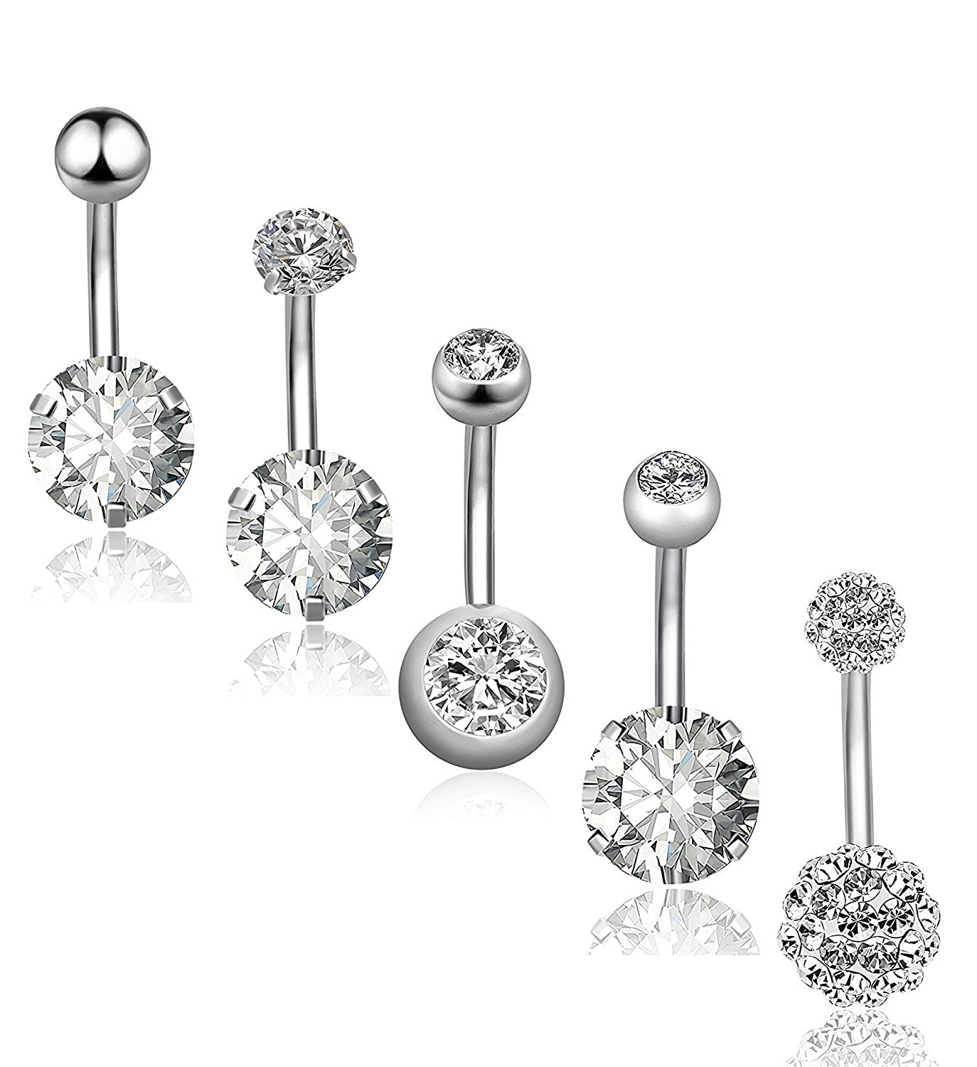 Ghome 5pcs 14g Belly Button Rings Surgical Steel Navel Rings Curved Barbell Body Piercing