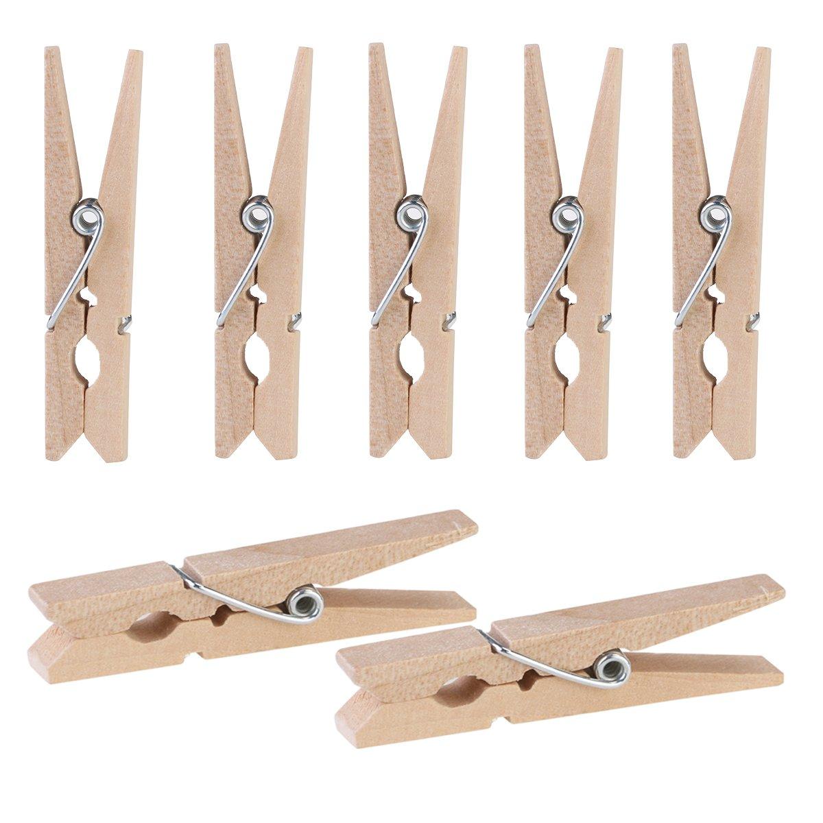 UKCOCO 100 Pcs 4.8CM Wooden Pegs Clothespins Mini Decorative Clip Wood Craft Photo Clip