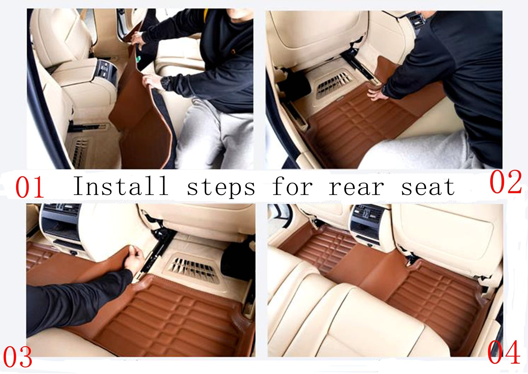 FLY5D Car Floor Mats Front Rear Liner Auto Waterproof For Mercedes-Benz GLE 2017 (Mercedes-Benz GLE 2017, Brown)