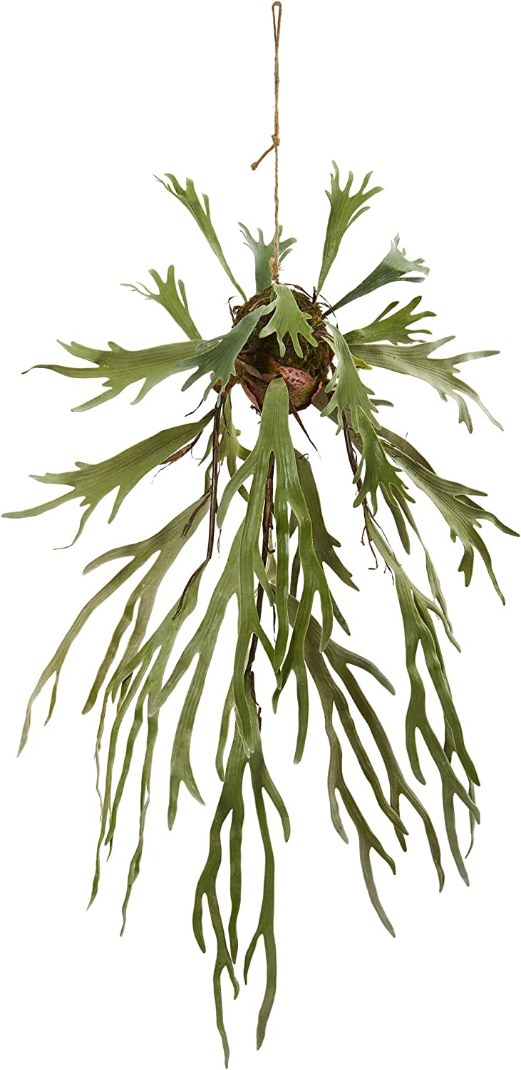 Nearly Natural 50in. Staghorn Artificial Hanging Silk Plants, Green