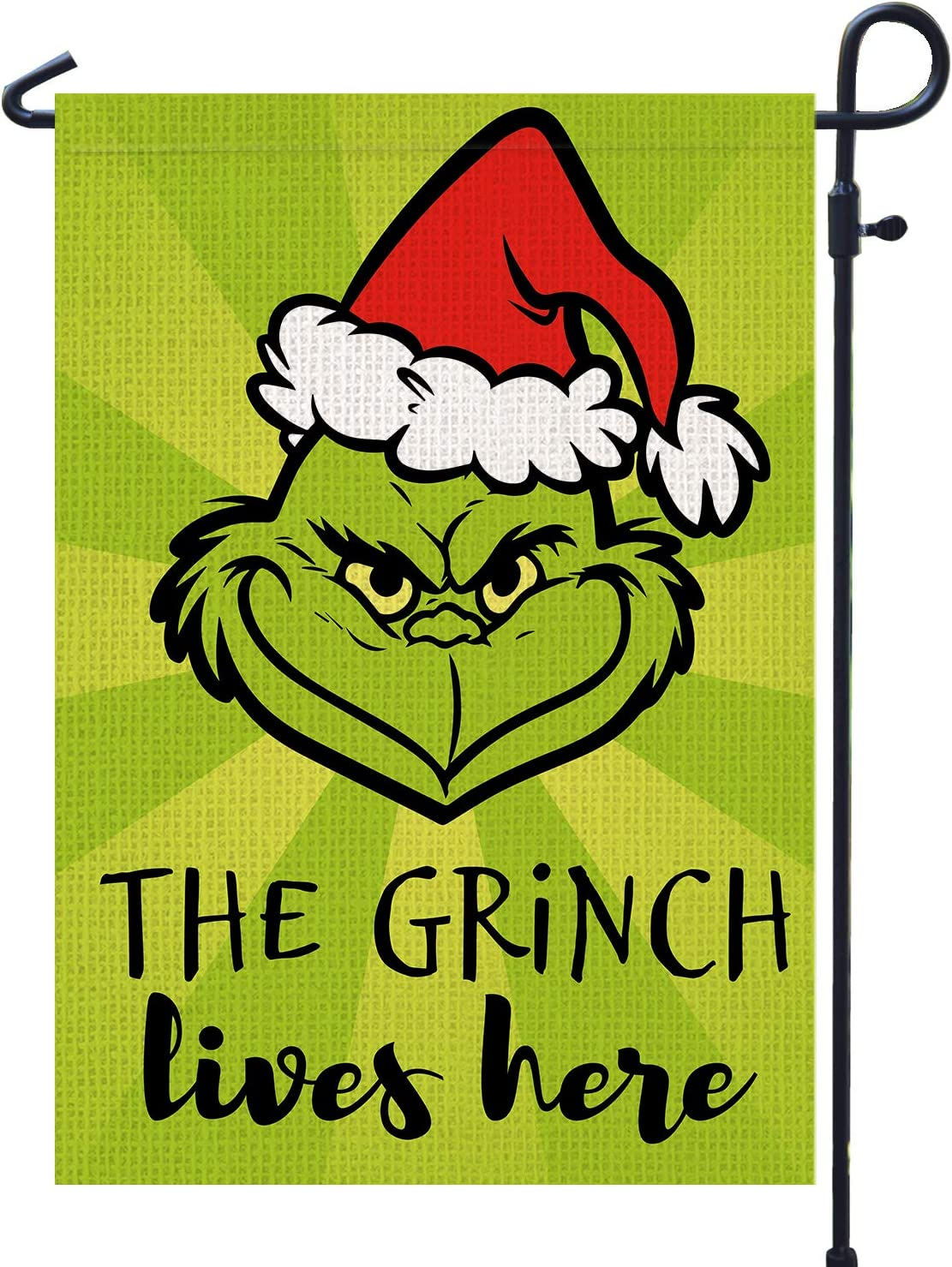 PAMBO Merry Christmas Garden Flag 12x18 Double Sided for Outside Yard Outdoor Decoration - Grinch Lives Here Christmas Garden Flag
