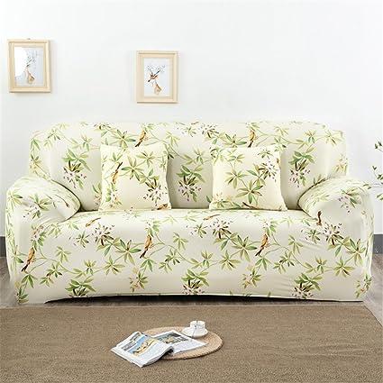Fundas elásticas para sofá, tela, diseño de flores y pájaros, de la marca Getmorebeauty , marrón, 4 Seater