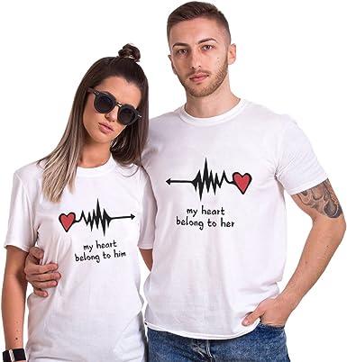 Couple Shirt Pour Femme Homme Amoureux Coton Amant Tees Shirts 2 Pcs Logo T Shirt Impression Cœur Tops A Manches Courtes Saint Valentin Anniversaire Cadeau Amazon Fr Vetements Et Accessoires