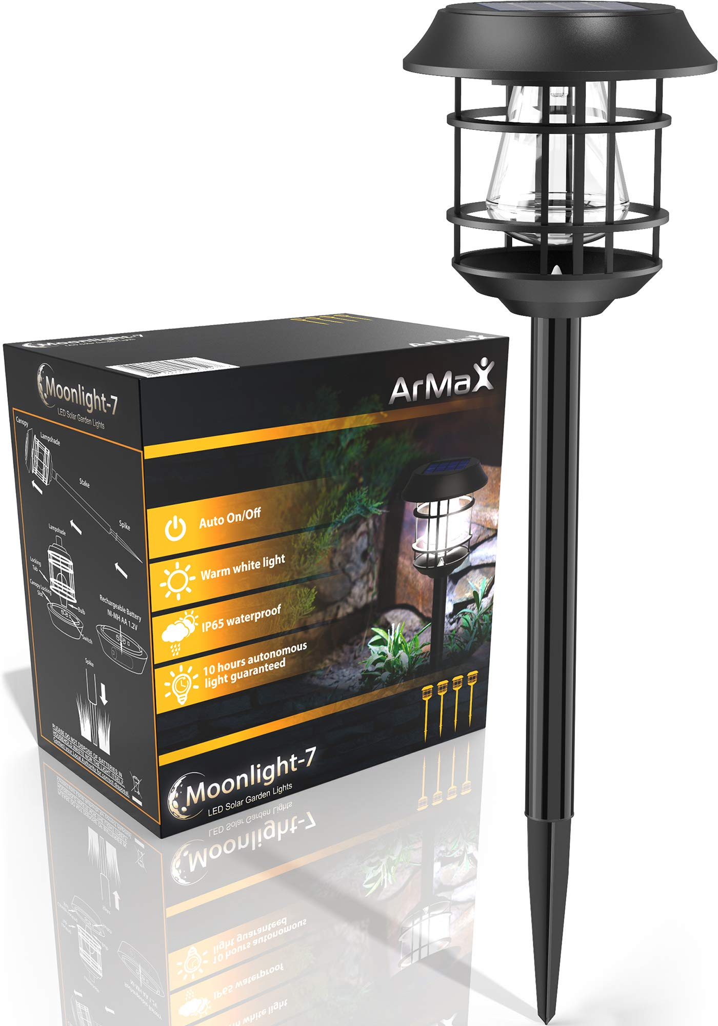 ArMax Solar Walkway In-Ground Stake Lights Outdoor - For Garden Pathway Driveway Sidewalk Yard Lawn Path - Outside Landscape Lighting - Bright Warm White LED Light Up To 25HR - 4 Pack Set - Waterproof