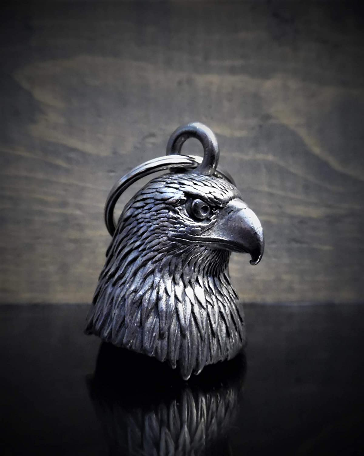 Eagle Head Motorcycle Biker Bell Accessory or Key Chain for Luck